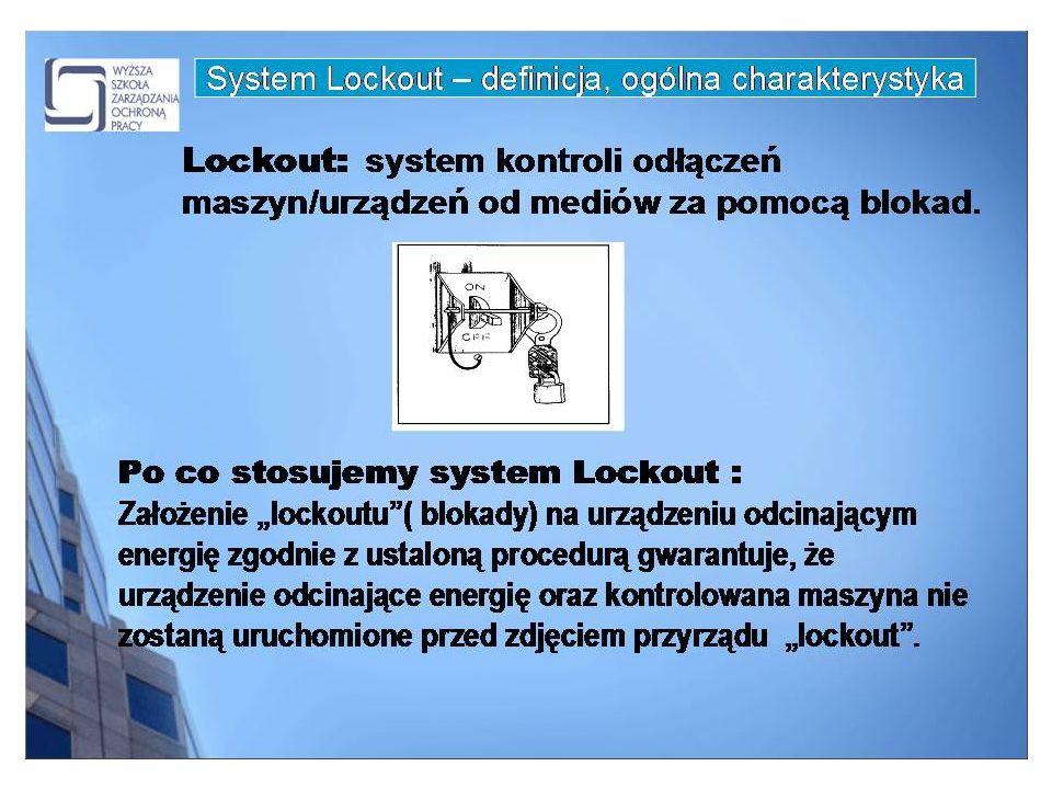 GRUPOWE PROCEDURY LOCKOUT na każdym urządzeniu izolującym energię, jest dwóch wykwalifikowanych pracowników, którzy blokują urządzenia.