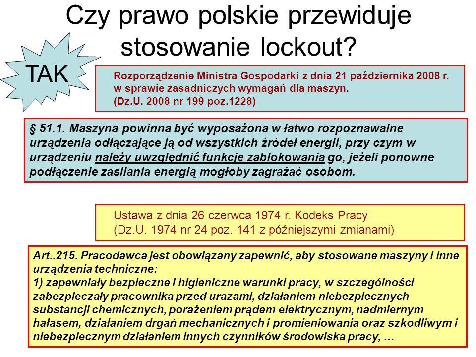 Czy prawo polskie przewiduje stosowanie lockout? Rozporządzenie Ministra Gospodarki z dnia 21 października 2008 r. w sprawie zasadniczych wymagań dla
