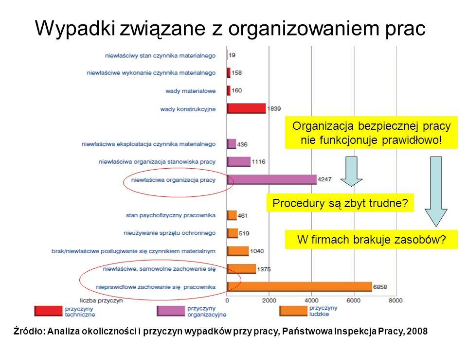 Wypadki związane z organizowaniem prac Źródło: Analiza okoliczności i przyczyn wypadków przy pracy, Państwowa Inspekcja Pracy, 2008 Organizacja bezpie