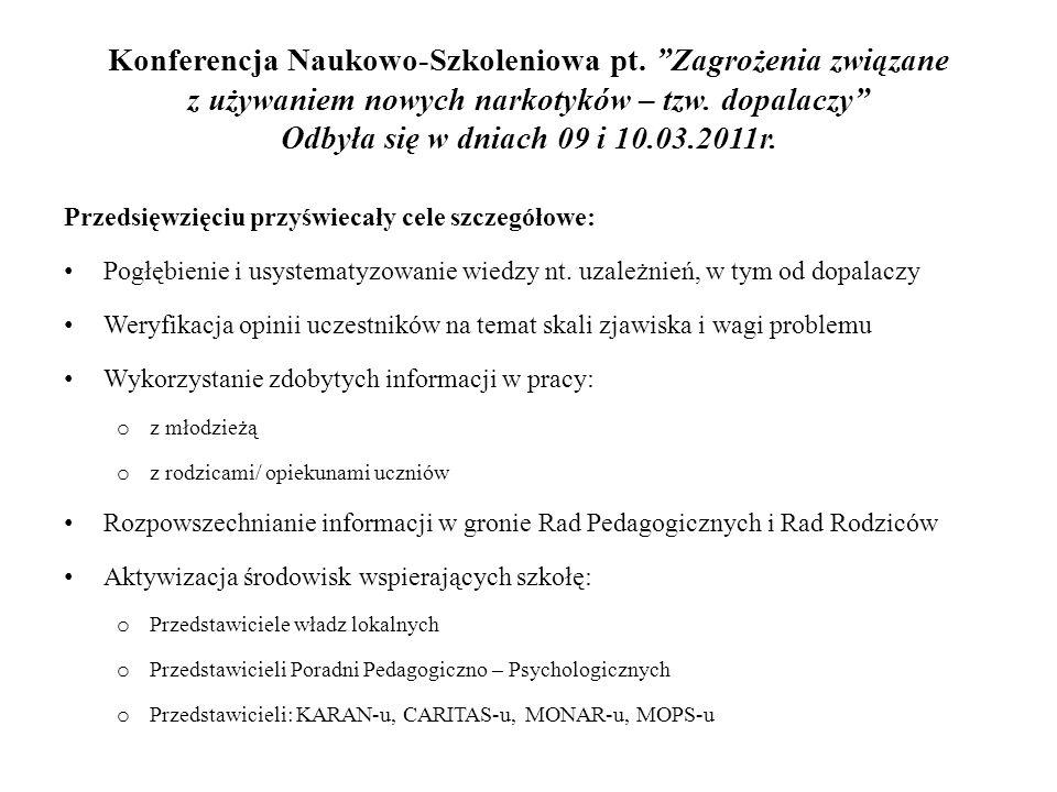 Konferencja Naukowo-Szkoleniowa pt. Zagrożenia związane z używaniem nowych narkotyków – tzw.