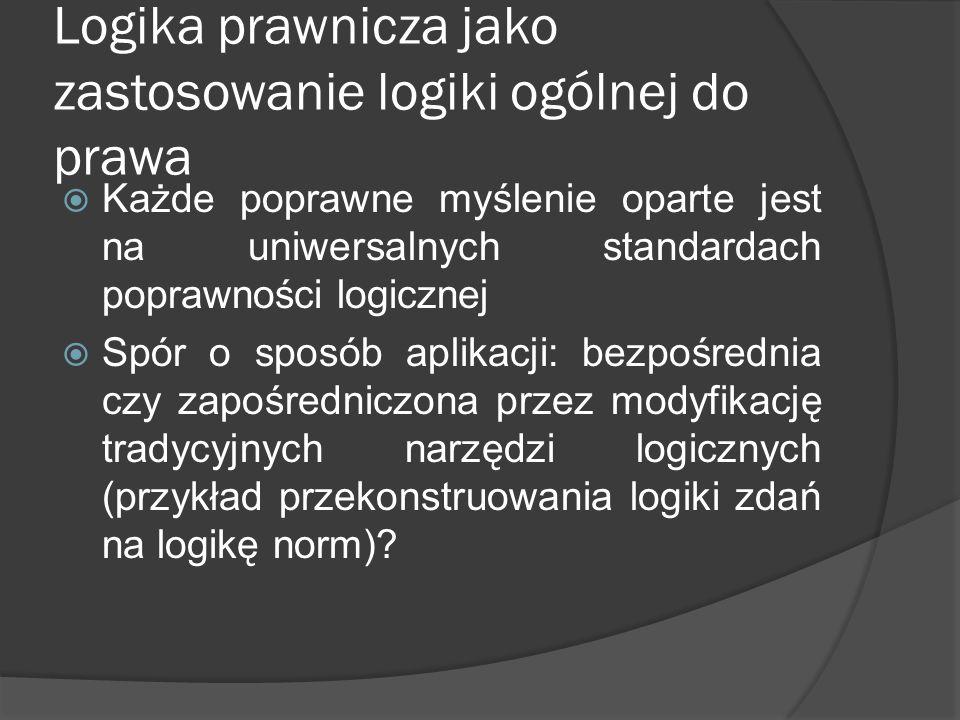 Logika prawnicza jako zastosowanie logiki ogólnej do prawa  Każde poprawne myślenie oparte jest na uniwersalnych standardach poprawności logicznej  Spór o sposób aplikacji: bezpośrednia czy zapośredniczona przez modyfikację tradycyjnych narzędzi logicznych (przykład przekonstruowania logiki zdań na logikę norm)?