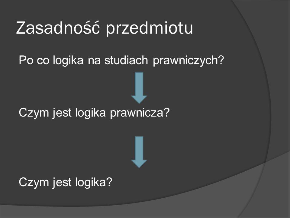 Zasadność przedmiotu Po co logika na studiach prawniczych.