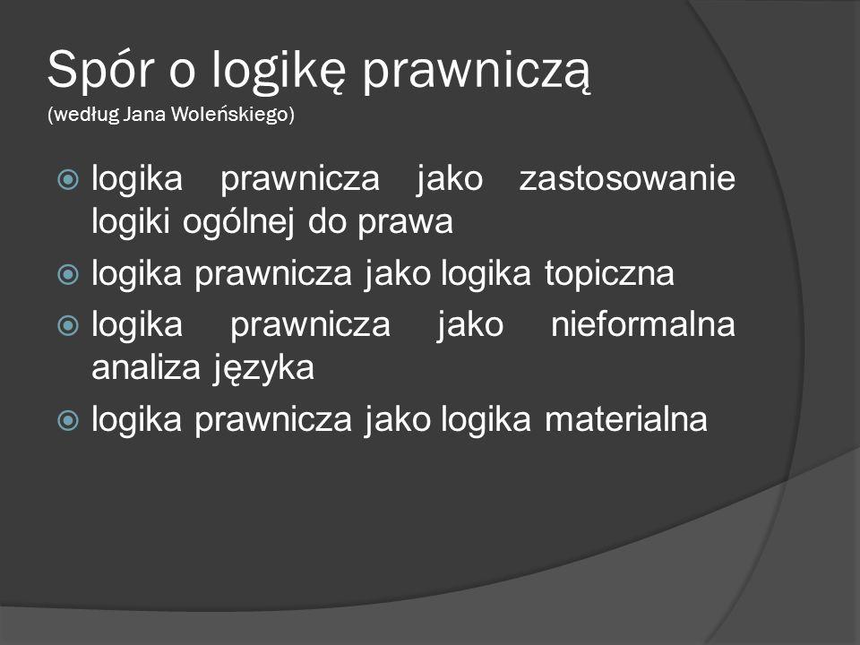 Spór o logikę prawniczą (według Jana Woleńskiego)  logika prawnicza jako zastosowanie logiki ogólnej do prawa  logika prawnicza jako logika topiczna  logika prawnicza jako nieformalna analiza języka  logika prawnicza jako logika materialna