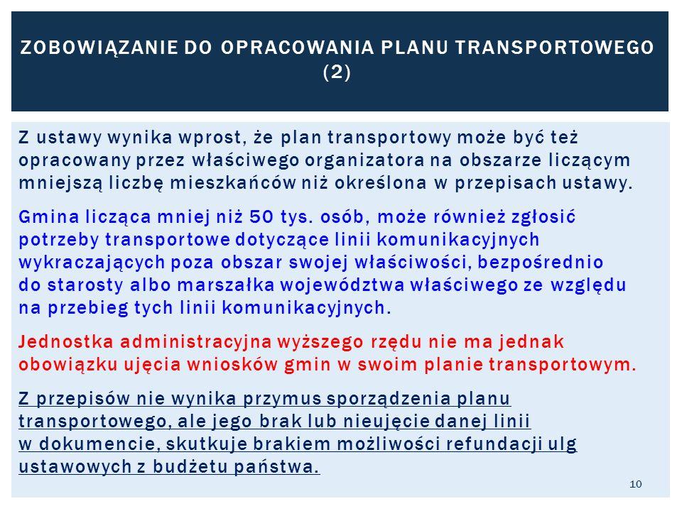 Z ustawy wynika wprost, że plan transportowy może być też opracowany przez właściwego organizatora na obszarze liczącym mniejszą liczbę mieszkańców niż określona w przepisach ustawy.