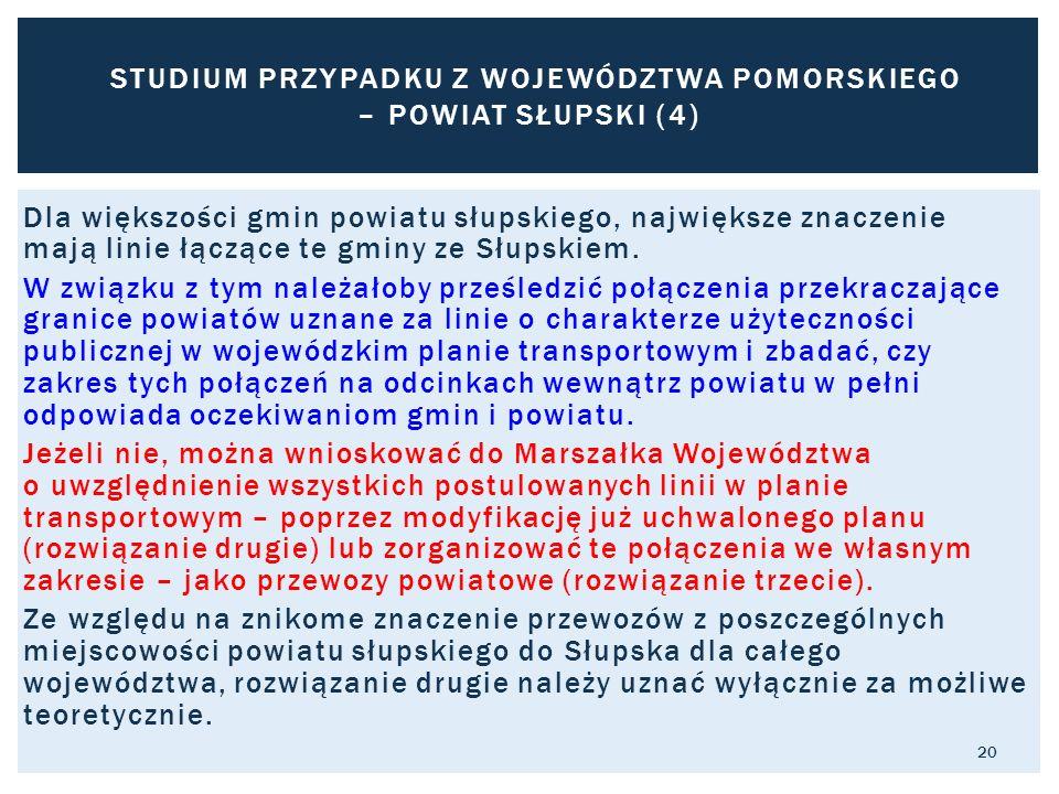 Dla większości gmin powiatu słupskiego, największe znaczenie mają linie łączące te gminy ze Słupskiem. W związku z tym należałoby prześledzić połączen