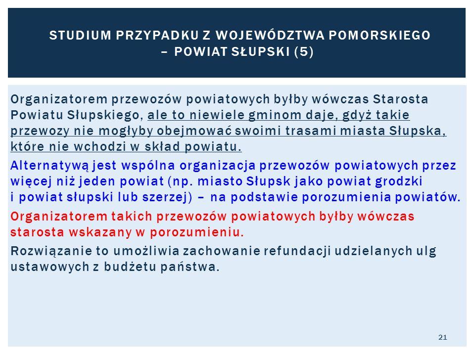 Organizatorem przewozów powiatowych byłby wówczas Starosta Powiatu Słupskiego, ale to niewiele gminom daje, gdyż takie przewozy nie mogłyby obejmować swoimi trasami miasta Słupska, które nie wchodzi w skład powiatu.