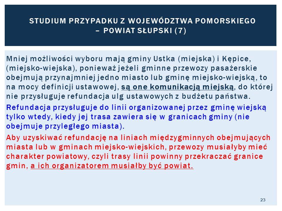 Mniej możliwości wyboru mają gminy Ustka (miejska) i Kępice, (miejsko-wiejska), ponieważ jeżeli gminne przewozy pasażerskie obejmują przynajmniej jedno miasto lub gminę miejsko-wiejską, to na mocy definicji ustawowej, są one komunikacją miejską, do której nie przysługuje refundacja ulg ustawowych z budżetu państwa.