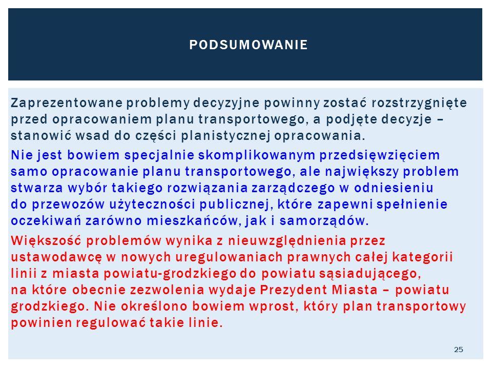Zaprezentowane problemy decyzyjne powinny zostać rozstrzygnięte przed opracowaniem planu transportowego, a podjęte decyzje – stanowić wsad do części planistycznej opracowania.