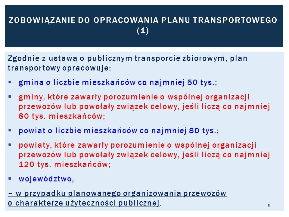 Zgodnie z ustawą o publicznym transporcie zbiorowym, plan transportowy opracowuje:  gmina o liczbie mieszkańców co najmniej 50 tys.;  gminy, które zawarły porozumienie o wspólnej organizacji przewozów lub powołały związek celowy, jeśli liczą co najmniej 80 tys.