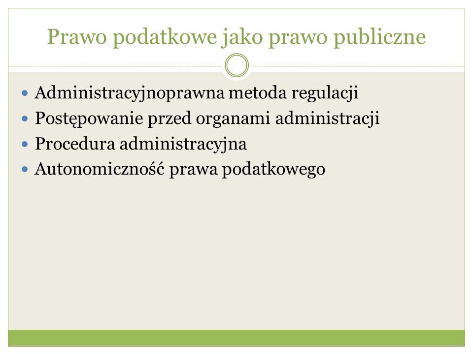 Prawo podatkowe jako prawo publiczne Administracyjnoprawna metoda regulacji Postępowanie przed organami administracji Procedura administracyjna Autono
