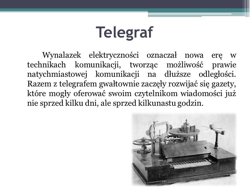 Telegraf Wynalazek elektryczności oznaczał nowa erę w technikach komunikacji, tworząc możliwość prawie natychmiastowej komunikacji na dłuższe odległości.