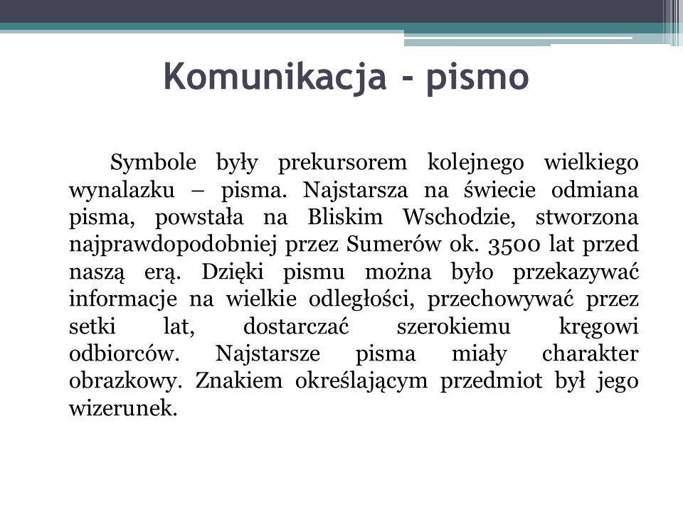Komunikacja - pismo Symbole były prekursorem kolejnego wielkiego wynalazku – pisma.