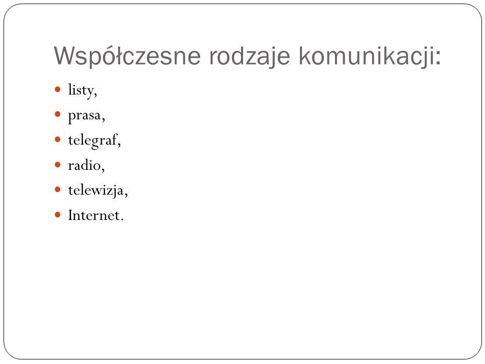 Współczesne rodzaje komunikacji: listy, prasa, telegraf, radio, telewizja, Internet.