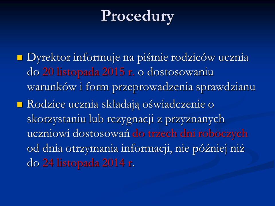 Procedury Dyrektor informuje na piśmie rodziców ucznia do 20 listopada 2015 r. o dostosowaniu warunków i form przeprowadzenia sprawdzianu Dyrektor inf