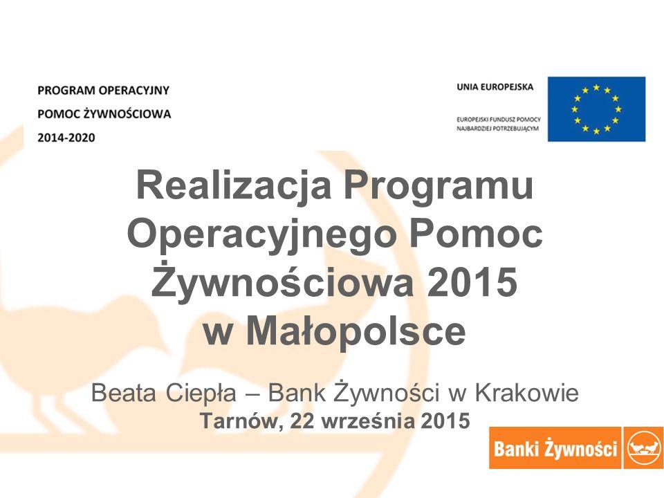Realizacja Programu Operacyjnego Pomoc Żywnościowa 2015 w Małopolsce Beata Ciepła – Bank Żywności w Krakowie Tarnów, 22 września 2015