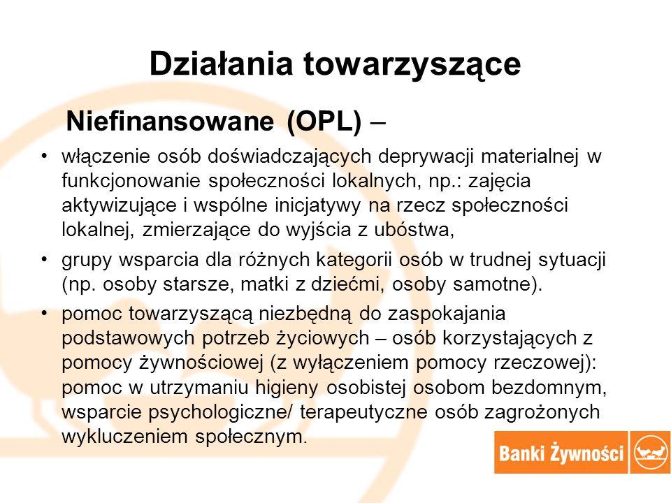Działania towarzyszące Niefinansowane (OPL) – włączenie osób doświadczających deprywacji materialnej w funkcjonowanie społeczności lokalnych, np.: zaj
