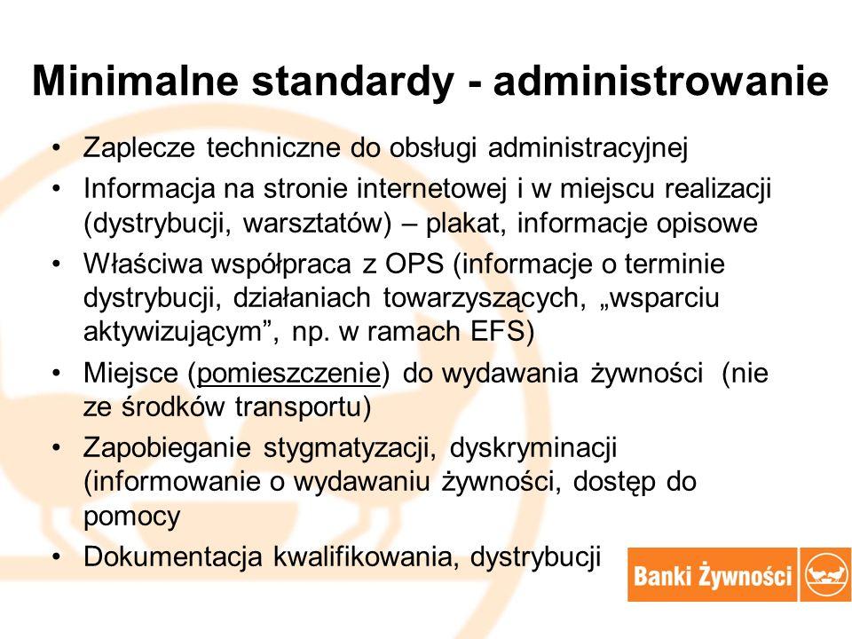 """Minimalne standardy - administrowanie Zaplecze techniczne do obsługi administracyjnej Informacja na stronie internetowej i w miejscu realizacji (dystrybucji, warsztatów) – plakat, informacje opisowe Właściwa współpraca z OPS (informacje o terminie dystrybucji, działaniach towarzyszących, """"wsparciu aktywizującym , np."""