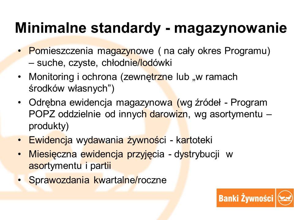 Minimalne standardy - magazynowanie Pomieszczenia magazynowe ( na cały okres Programu) – suche, czyste, chłodnie/lodówki Monitoring i ochrona (zewnętr