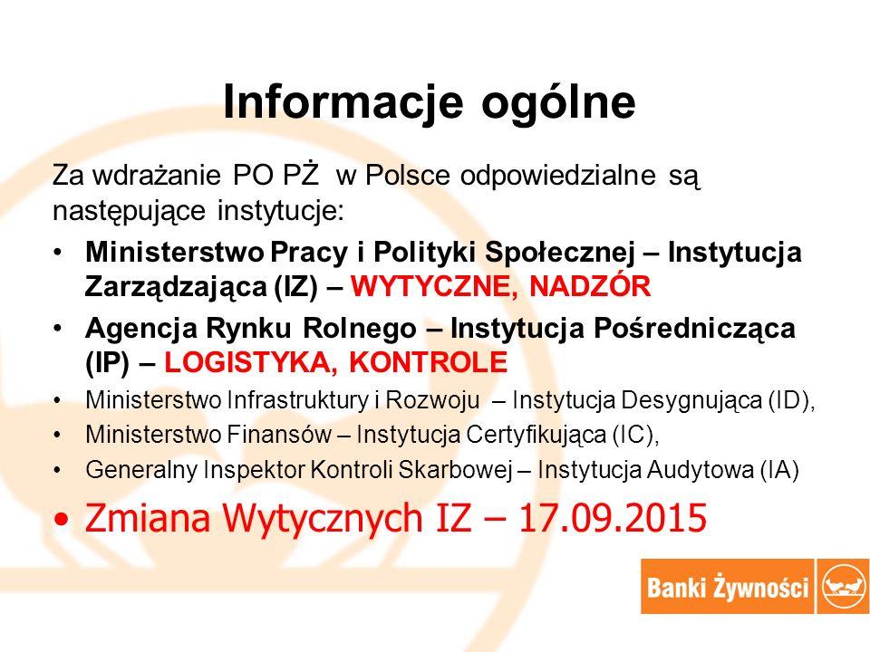 Informacje ogólne Z a wdrażanie PO PŻ w Polsce odpowiedzialne są następujące instytucje: Ministerstwo Pracy i Polityki Społecznej – Instytucja Zarządzająca (IZ) – WYTYCZNE, NADZÓR Agencja Rynku Rolnego – Instytucja Pośrednicząca (IP) – LOGISTYKA, KONTROLE Ministerstwo Infrastruktury i Rozwoju – Instytucja Desygnująca (ID), Ministerstwo Finansów – Instytucja Certyfikująca (IC), Generalny Inspektor Kontroli Skarbowej – Instytucja Audytowa (IA) Zmiana Wytycznych IZ – 17.09.2015