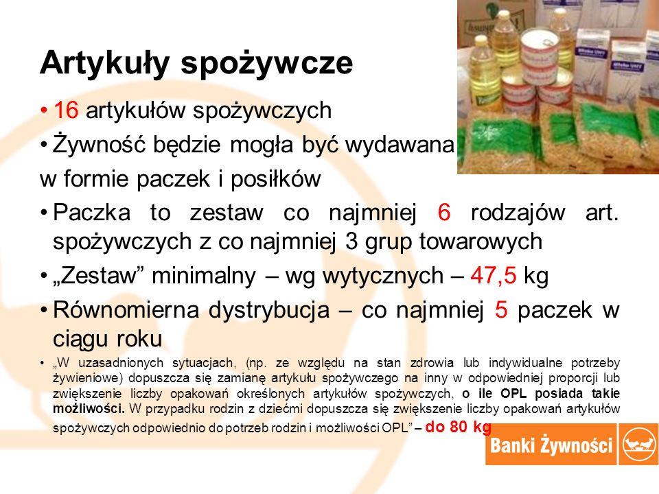 artykuł spożywczy KG ilość kg wg umowy (po przetargu I) pula dodatkowa (Przetarg II - IX 2015) RAZEM pula żywności dla BZK Proponowany przydział na 1 osobę 1.