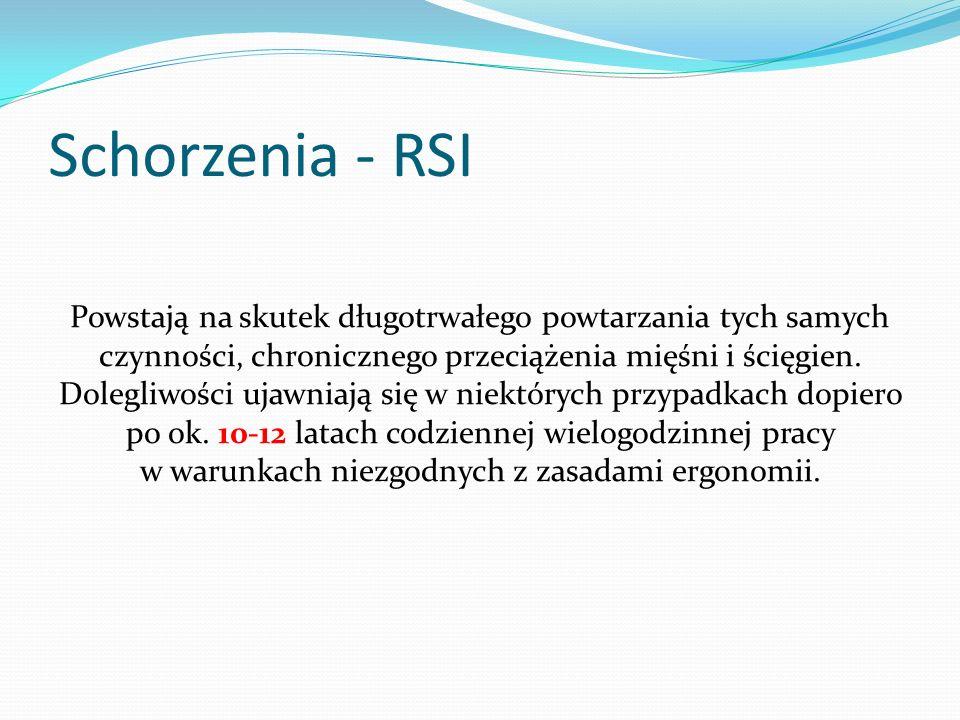 Schorzenia - RSI Powstają na skutek długotrwałego powtarzania tych samych czynności, chronicznego przeciążenia mięśni i ścięgien. Dolegliwości ujawnia
