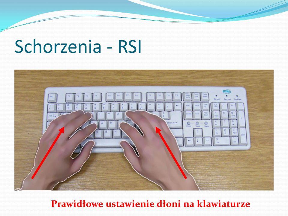 Prawidłowa pozycja Naturalne położenie kończyn górnych przy obsłudze klawiatury, z zachowaniem co najmniej kąta 90 o między ramieniem i przedramieniem.