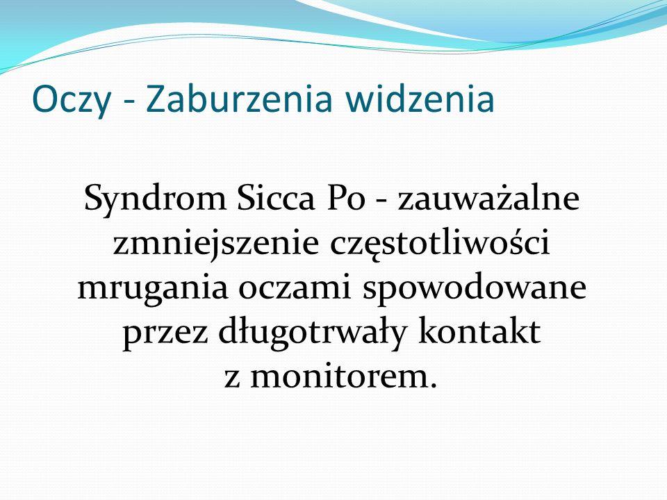 Syndrom Sicca Po - zauważalne zmniejszenie częstotliwości mrugania oczami spowodowane przez długotrwały kontakt z monitorem. Oczy - Zaburzenia widzeni