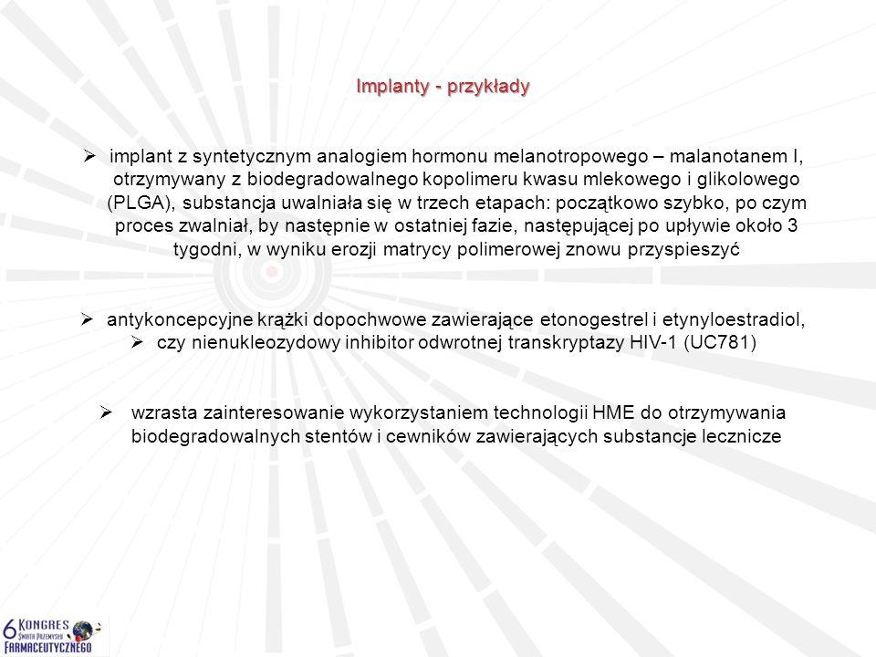 Implanty - przykłady  implant z syntetycznym analogiem hormonu melanotropowego – malanotanem I, otrzymywany z biodegradowalnego kopolimeru kwasu mlek