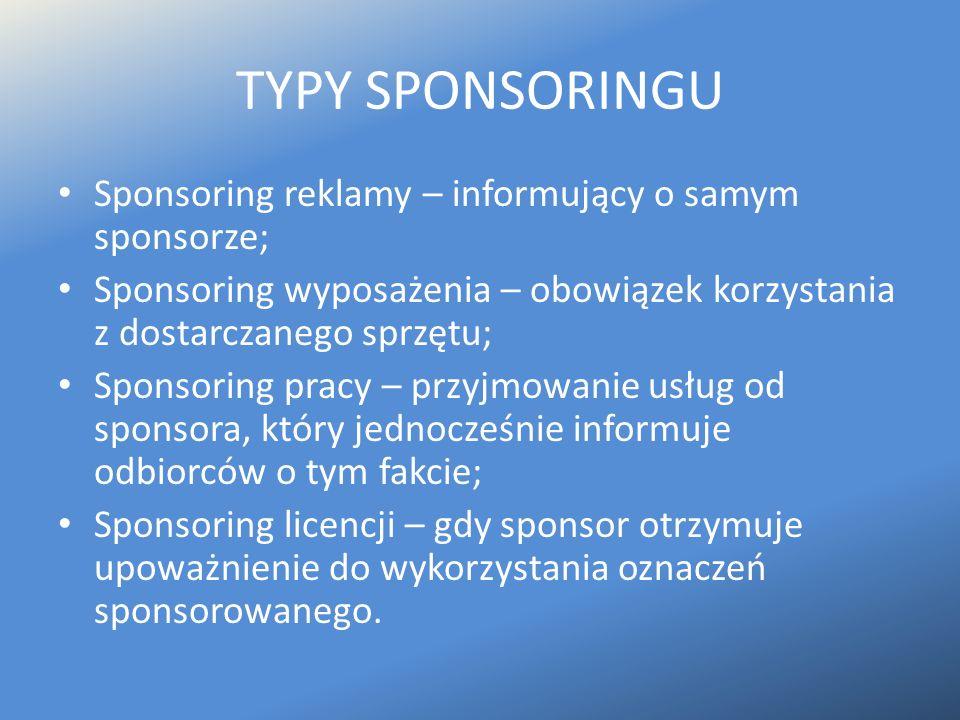 TYPY SPONSORINGU Sponsoring reklamy – informujący o samym sponsorze; Sponsoring wyposażenia – obowiązek korzystania z dostarczanego sprzętu; Sponsorin