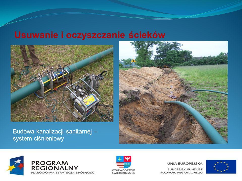 Usuwanie i oczyszczanie ścieków Budowa kanalizacji sanitarnej – system ciśnieniowy