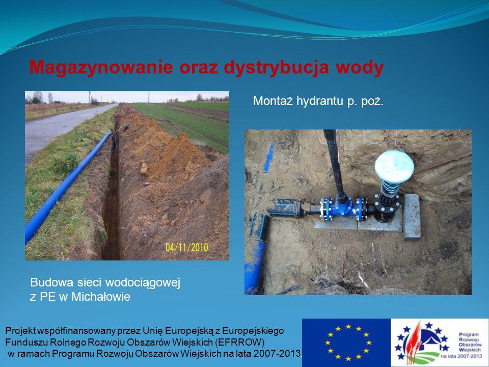 Magazynowanie oraz dystrybucja wody Projekt współfinansowany przez Unię Europejską z Europejskiego Funduszu Rolnego Rozwoju Obszarów Wiejskich (EFRROW