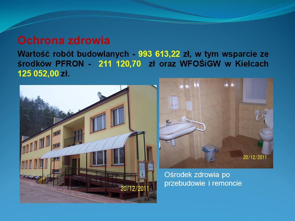 Ochrona zdrowia Wartość robót budowlanych - 993 613,22 zł, w tym wsparcie ze środków PFRON - 211 120,70 zł oraz WFOŚiGW w Kielcach 125 052,00 zł. Ośro
