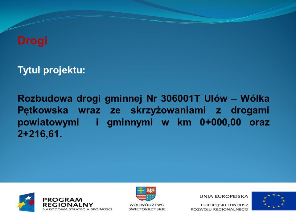 Drogi Tytuł projektu: Rozbudowa drogi gminnej Nr 306001T Ulów – Wólka Pętkowska wraz ze skrzyżowaniami z drogami powiatowymi i gminnymi w km 0+000,00