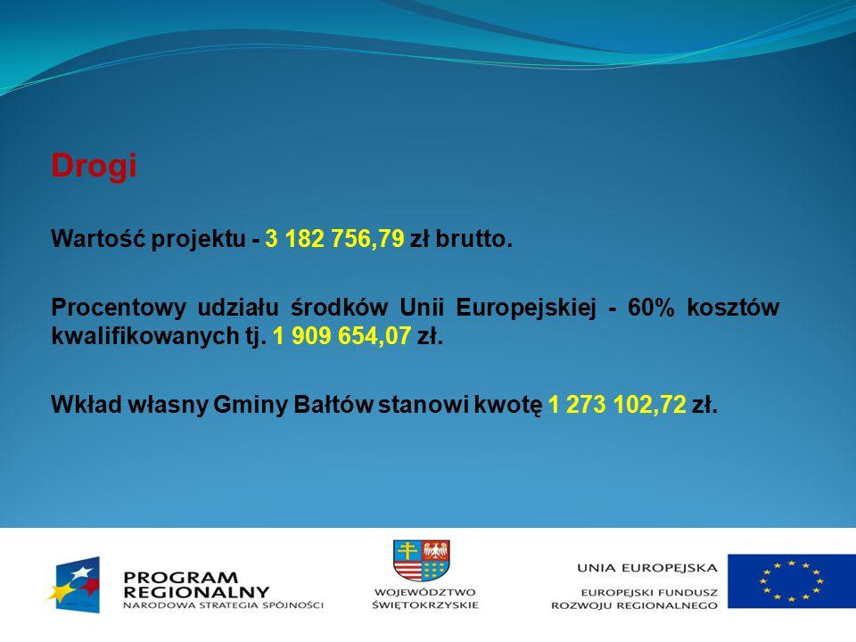 Drogi Wartość projektu - 3 182 756,79 zł brutto. Procentowy udziału środków Unii Europejskiej - 60% kosztów kwalifikowanych tj. 1 909 654,07 zł. Wkład