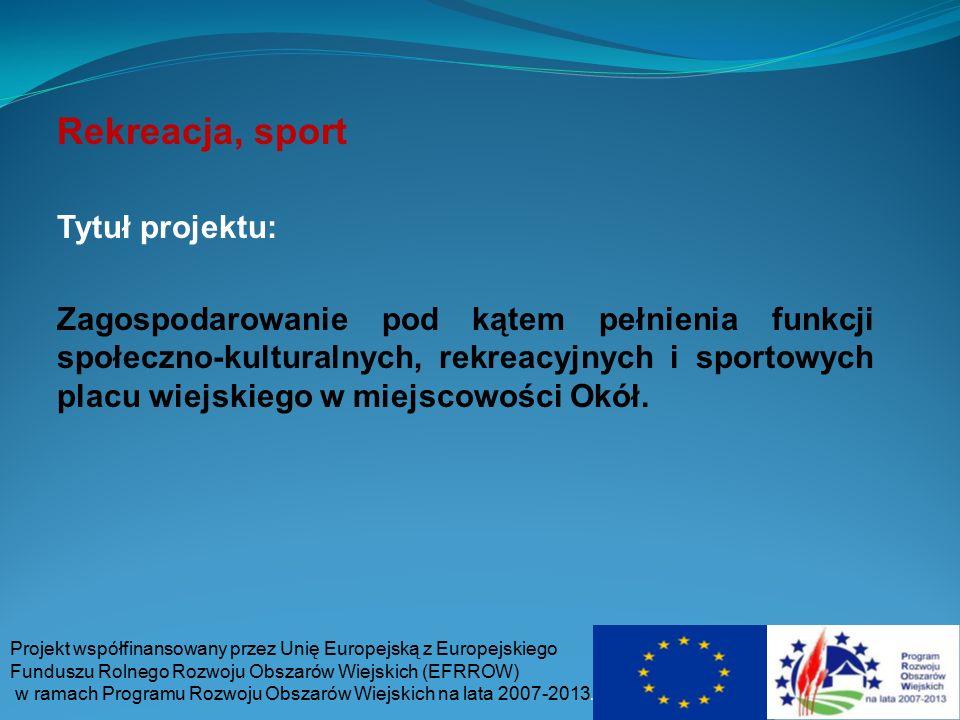 Rekreacja, sport Tytuł projektu: Zagospodarowanie pod kątem pełnienia funkcji społeczno-kulturalnych, rekreacyjnych i sportowych placu wiejskiego w mi