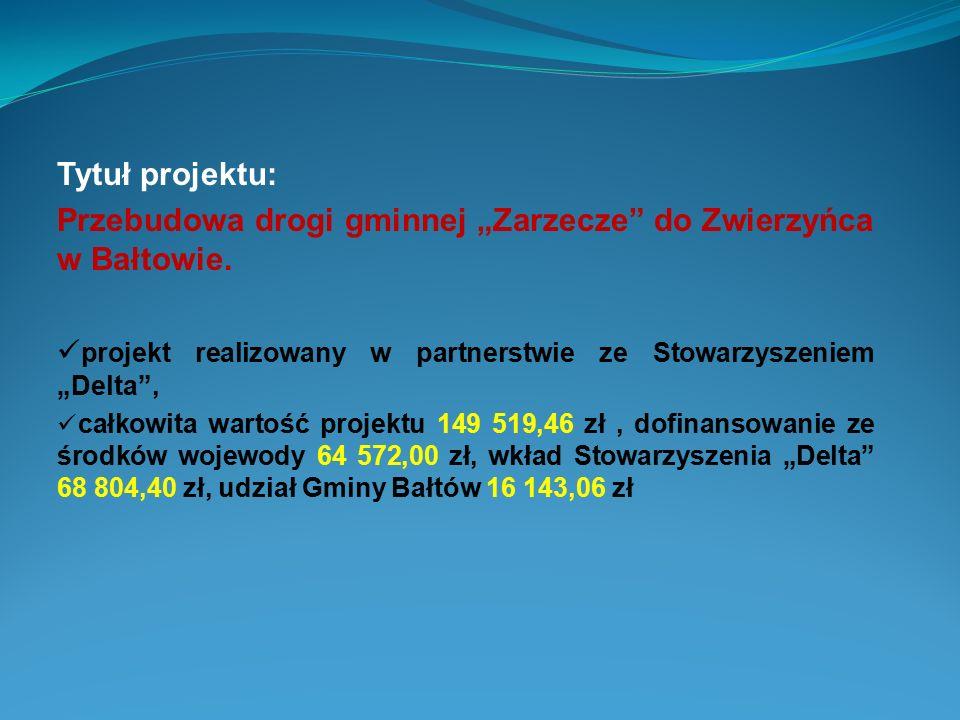 """Tytuł projektu: Przebudowa drogi gminnej """"Zarzecze"""" do Zwierzyńca w Bałtowie. projekt realizowany w partnerstwie ze Stowarzyszeniem """"Delta"""", całkowita"""