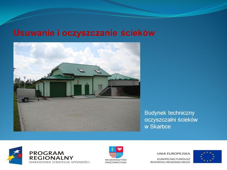 Usuwanie i oczyszczanie ścieków Budynek techniczny oczyszczalni ścieków w Skarbce