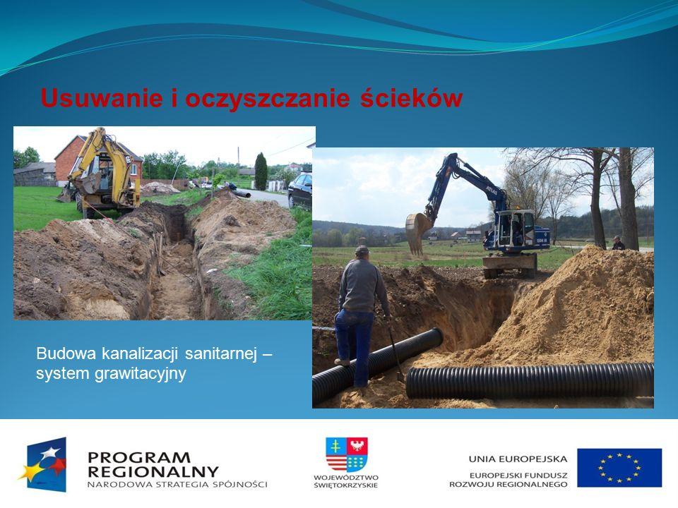 Usuwanie i oczyszczanie ścieków Budowa kanalizacji sanitarnej – system grawitacyjny