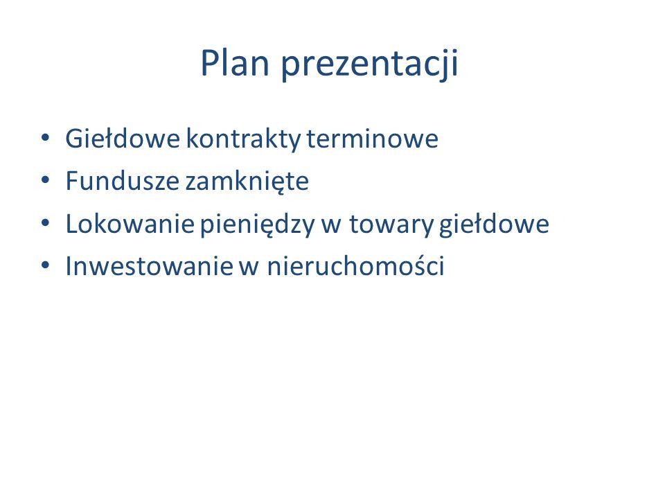 Plan prezentacji Giełdowe kontrakty terminowe Fundusze zamknięte Lokowanie pieniędzy w towary giełdowe Inwestowanie w nieruchomości