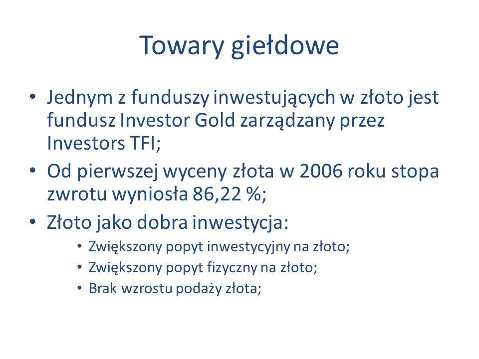 Towary giełdowe Jednym z funduszy inwestujących w złoto jest fundusz Investor Gold zarządzany przez Investors TFI; Od pierwszej wyceny złota w 2006 roku stopa zwrotu wyniosła 86,22 %; Złoto jako dobra inwestycja: Zwiększony popyt inwestycyjny na złoto; Zwiększony popyt fizyczny na złoto; Brak wzrostu podaży złota;