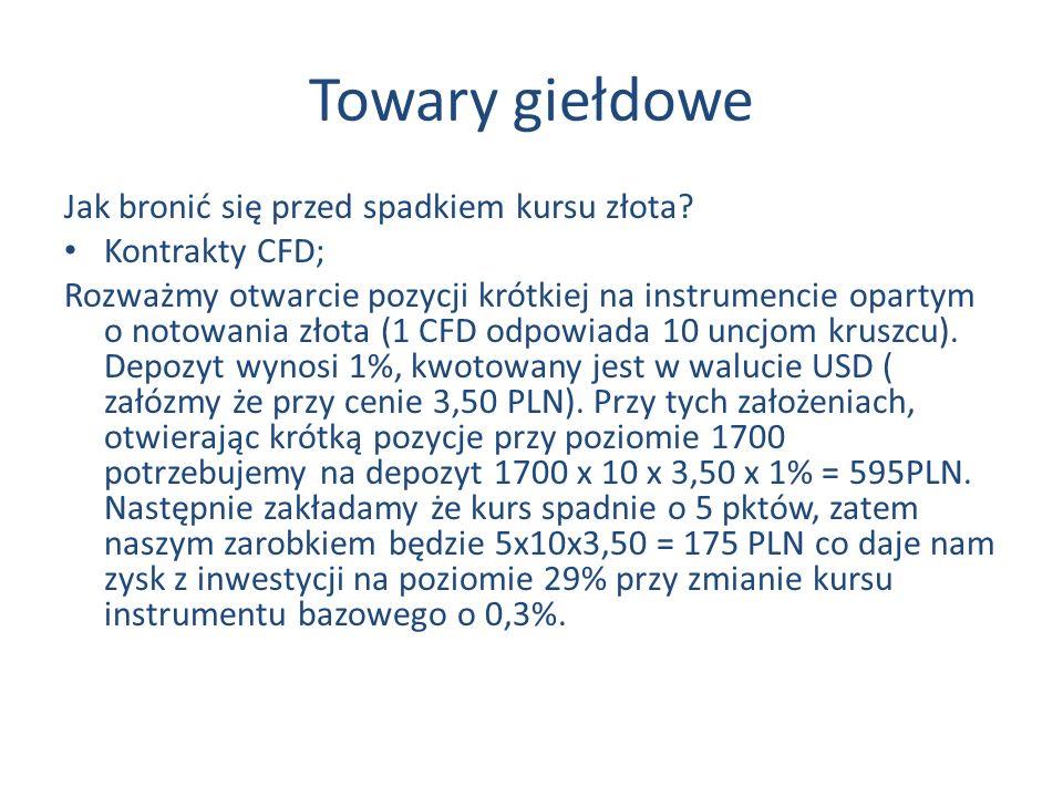 Towary giełdowe Jak bronić się przed spadkiem kursu złota.