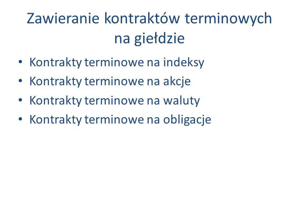 Zawieranie kontraktów terminowych na giełdzie Kontrakty terminowe na indeksy Kontrakty terminowe na akcje Kontrakty terminowe na waluty Kontrakty terminowe na obligacje