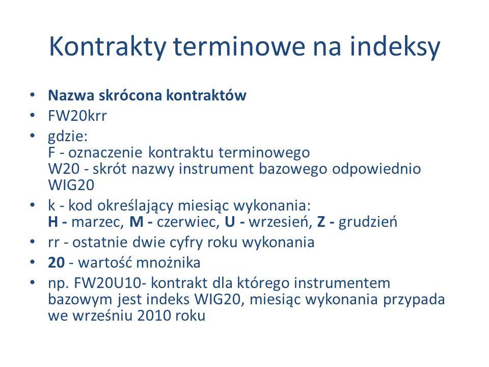Kontrakty terminowe na indeksy Nazwa skrócona kontraktów FW20krr gdzie: F - oznaczenie kontraktu terminowego W20 - skrót nazwy instrument bazowego odpowiednio WIG20 k - kod określający miesiąc wykonania: H - marzec, M - czerwiec, U - wrzesień, Z - grudzień rr - ostatnie dwie cyfry roku wykonania 20 - wartość mnożnika np.