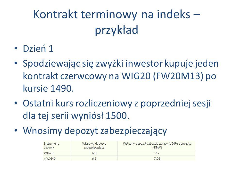Kontrakt terminowy na indeks – przykład Dzień 1 Spodziewając się zwyżki inwestor kupuje jeden kontrakt czerwcowy na WIG20 (FW20M13) po kursie 1490.