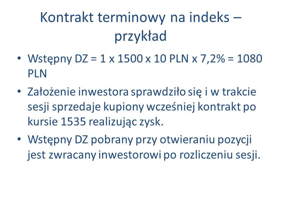 Kontrakt terminowy na indeks – przykład Wstępny DZ = 1 x 1500 x 10 PLN x 7,2% = 1080 PLN Założenie inwestora sprawdziło się i w trakcie sesji sprzedaje kupiony wcześniej kontrakt po kursie 1535 realizując zysk.