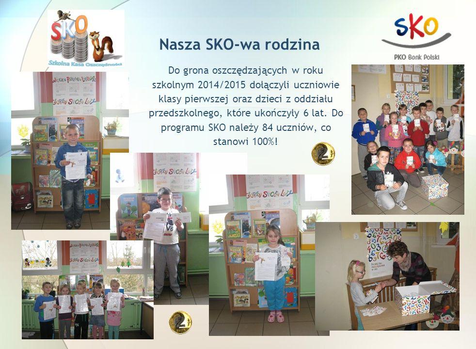 Nasza SKO-wa rodzina Do grona oszczędzających w roku szkolnym 2014/2015 dołączyli uczniowie klasy pierwszej oraz dzieci z oddziału przedszkolnego, które ukończyły 6 lat.