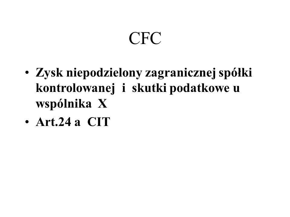 CFC Zysk niepodzielony zagranicznej spółki kontrolowanej i skutki podatkowe u wspólnika X Art.24 a CIT