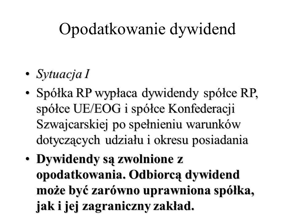 Opodatkowanie dywidend Sytuacja ISytuacja I Spółka RP wypłaca dywidendy spółce RP, spółce UE/EOG i spółce Konfederacji Szwajcarskiej po spełnieniu war