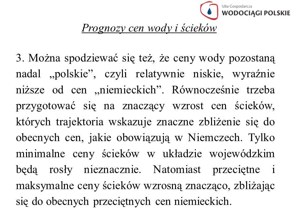 """Prognozy cen wody i ścieków 3. Można spodziewać się też, że ceny wody pozostaną nadal """"polskie"""", czyli relatywnie niskie, wyraźnie niższe od cen """"niem"""
