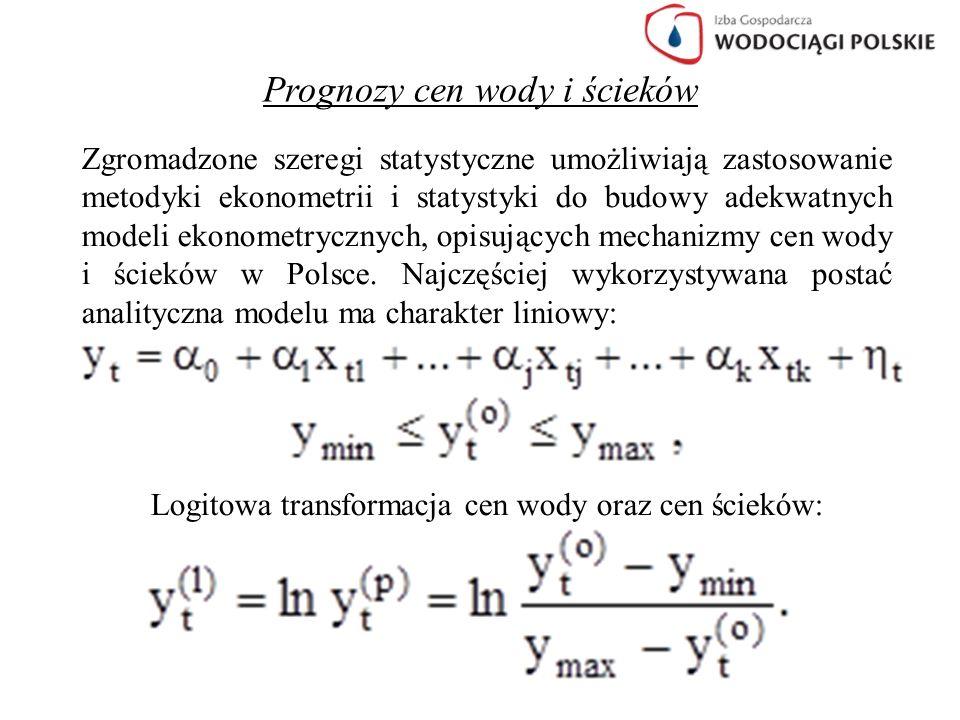 Prognozy cen wody i ścieków Ekonometryczne modele cen wody w Polsce Modele autoregresyjno-trendowe – dla średnich cen wody Przyjęto za wzorzec obecną średnią cenę wody w Niemczech, która wynosi 1,80 € za 1m 3.